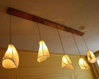 """Custom Camellia Paper Lantern Copper Chandelier - 44"""" Long Rectangular Copper Canopy - You Choose Quantity of Pendant Shades and Paper Color"""