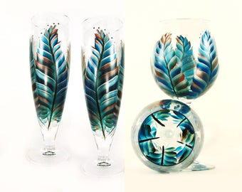Boho Wedding Party Glasses 12x - Turquoise, Copper, Silver Feathers - Choice of Glassware, Personalized Wedding Gift Ideas