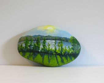 Painted rocks, lake painting, summer landscape, tree painting.