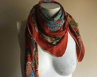 30% off moving sale 50s Silk Sally Lee Butterfly Print Scarf • Necktie • Neck Scarf
