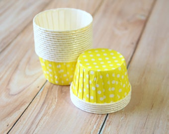 Yellow Polka Dot paper Candy Cups cupcake liner