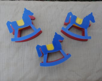 3 Rocking Horse Wilton 1971 Cake Topper or Party Favor Lot, Vintage Hong Kong Plastic, Primary Colors