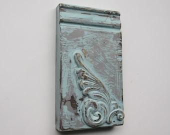 Plinth block -Aqua Sky Vintage - A -farmhouse style - Architectural Trim  - aqua chippy paint