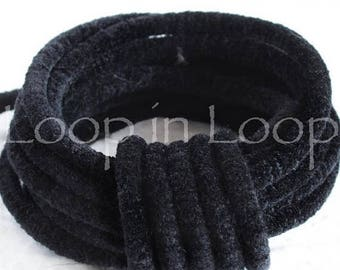 25%OFF Black Velvet Round Lush Cord thin rope tube 3.5mm thick Velvet Choker Tubing Semisoft Fabric polyester core (sold by the foot)