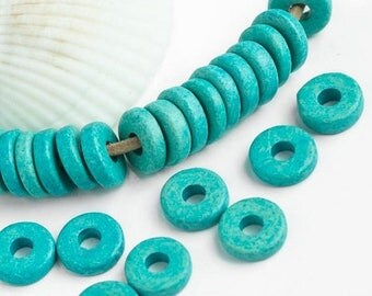 25%OFF 20 Mykonos beads Turquoise round washer 8mm Round Spacers Flat Washers Disk Greek Ceramic beads