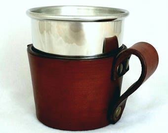 Handmade Pewter Cup in a Beautiful Leather Insulating Holder