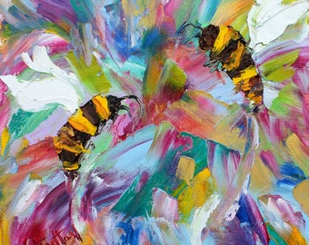 Bee Dance painting Original oil abstract palette knife impressionism on canvas fine art by Karen Tarlton