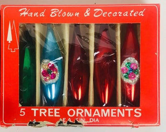 Vintage 1940s Hand Blown and Decorated Christmas Ornaments Two Sets of 5