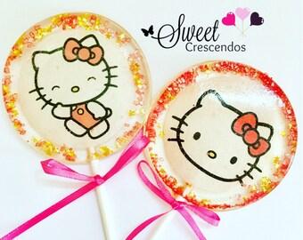 Little Kitty Lollipops- Hard Candy Lollipops- little Kitty Birthday- Party Favors- Bridal Shower- Wedding Favors- Lollipops