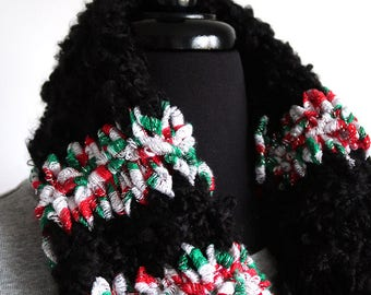 SALE - Christmas Eve Red Green White Black Color Knitted Infinity Scarf