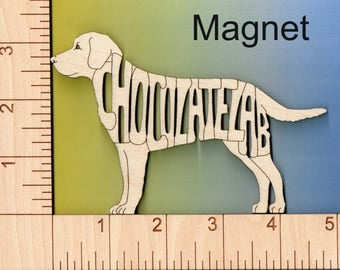 Chocolate Lab Dog laser cut and engraved wood Magnet