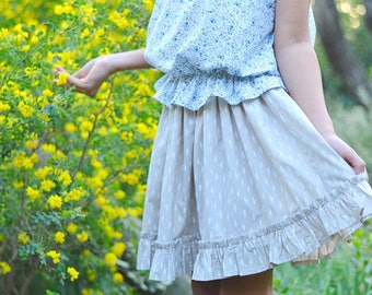 Everyday Play Skirt PDF Sewing Pattern, including sizes 6 months-14 years, Girls Skirt sewing pattern