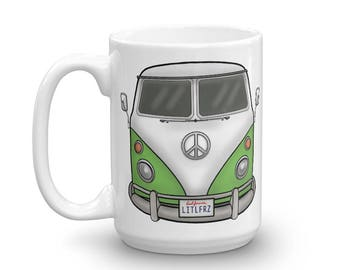 VW Bus Mug - Green VW Camper Van Coffee Cup - Volkswagen Camping Mug - Gift for Car Lover - Valentines Day Gift for Him - Personalized Car
