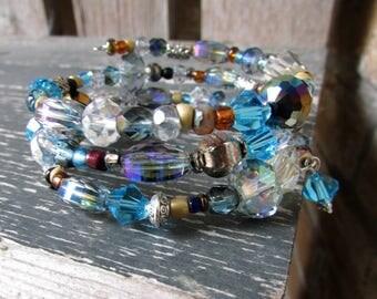 Wrap Bracelet in Hues of Blue