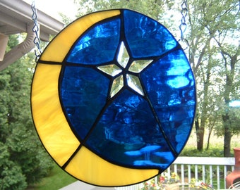 Stained Glass Moon and Bevel Star Sun Catcher Panel 2