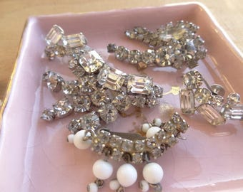 Vintage Clip on Rhinestone Earring Lot, Vintage Jewelry Destash,  Silver Tone Rhinestone D166