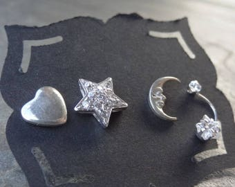 Vintage Sterling Studs - Sterling - Mismatched Earrings - Single - Post Earrings - Shoot Star Studs - Celestial Earrings - Heart - Moon