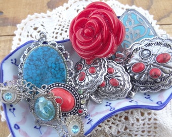 Vintage Jewelry Lot - Jewelry Lot - Faux Turquoise Charms - Red - Filigree - Concho - Red Rose Ring - Costume Jewelry Filigree - D230