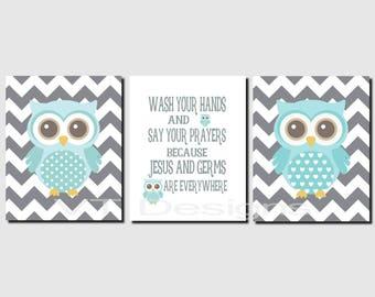 Kids Bathroom Art, Wash Your Hands and Say Your Prayers, Aqua Gray Bathroom, Owl Bathroom Decor, Prints or Canvas, Set of 3