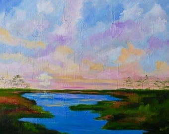 18 x 24 Large Modern Impressionist Marsh Sunset Kiawah Island Original Oil Painting by Rebecca Croft