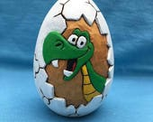Hatching Green Dinosaur Wooden Goose Egg Easter Gift Wood Carving Hand Carved Gift For Child Gift For Baby Child's Room Baby's Room