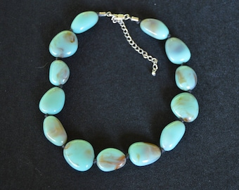 Vintage Turquoise Bead Necklace Adjustable Hand Made Original