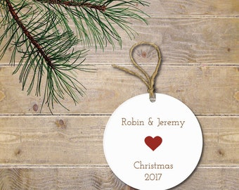 Personalized Christmas Ornament, Newlywed Christmas Ornament,  Bride and GroomOrnament, Heart, New Couple, Bridal Shower Gift