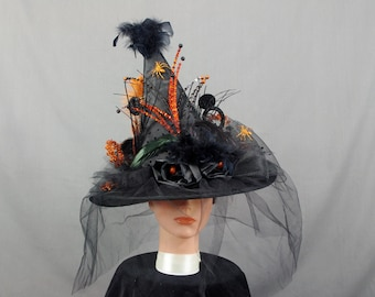 Elegant Witch Hat, Black Witch Hat, Black and Orange Witch Hat, Decorated Witch Hat, Spooky Witch Hat, Costume Hat, Wizard Hat