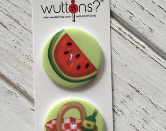 Sale Watermelon and Wine Picnic Buttons Wuttons Collection by Button Lovers Blumenthal Lansing Carded Set