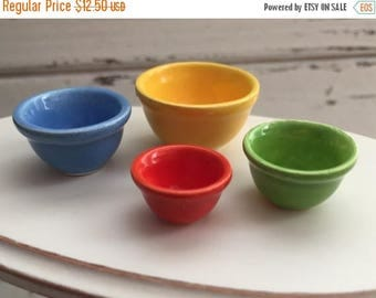 ON SALE Miniature Porcelain Nesting Bowls, Dollhouse 1:12 Scale, Mixing Bowls, Colored Bowls, 4 Piece Set
