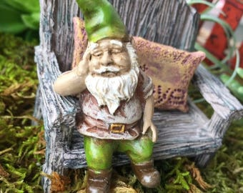 """SALE Miniature Sleeping Garden Gnome Figurine,  """"Iggy"""",  Perfect For Any Miniature Garden Project"""