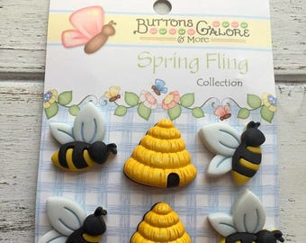 """SALE Bee and Hive Buttons, """"Busy Bees"""" by Buttons Galore, #SF100, Carded set of 6, Shank Back Buttons, Embellishments, Crafting, Sewing"""