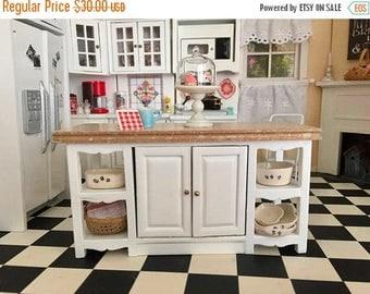 SALE Miniature Center Island, Marble Look Top, Side Shelves, 2 Door Island Table, Dollhouse Miniature Furniture, 1:12 Scale