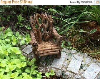 SALE Mini Twig Chair, Rustic Woodland Adirondack Chair, Fairy Garden Accessory, Garden Decor, Mini Garden Decor, Shelf Sitter, Topper