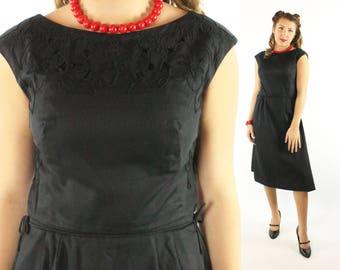 Vintage 50s Dress Lace Cutout LBD Little Black Dress Short Sleeves 1950s Large L Pinup Rockabilly Parnis Feinstein