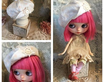 Blythe doll hat vintage style white with tiny pink polka dots button and doily trim handmade by Olive Grove Primitives