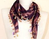 Turkish scarf //  cotton scarf // crochet scarf // purple scarf