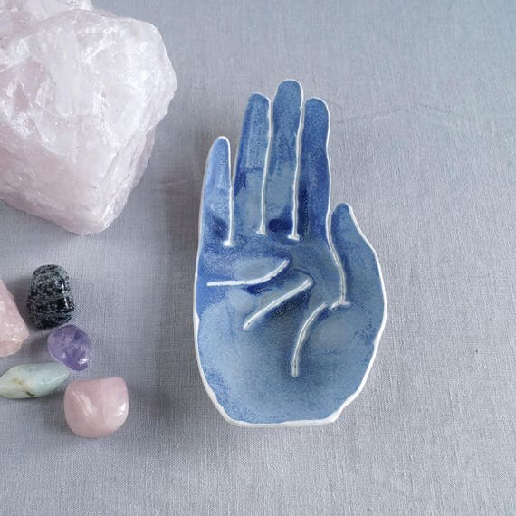 PALM ring dish, life size matt blue glaze ceramic hand bowl, porcelain soap dish ceramic coin bowl hand bowl candle bowl bathroom accessory