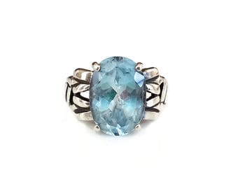 Sterling Topaz Vintage Ring - Signed Badavici, 5 Carats, Blue Gemstone, Statement Ring, Modernist Jewelry, Sterling Silver Ring, Size 7.75