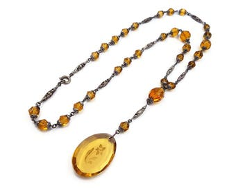 Art Deco Intaglio Glass Bead Long Flapper Necklace - Amber Beads, Sautoir Necklace, Vintage Necklace, Antique Jewelry, Czech Glass Beads