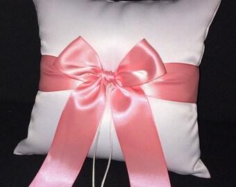 Light Coral Bow Ivory or White Wedding Ring Bearer Pillow