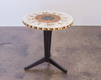 Italian Mosaic Clock Round Side Table