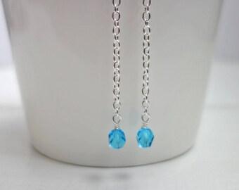 Long chain earrings turquoise beads earrings long dangle earrings for women