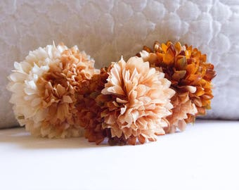 Set of 3 Ombre Pom Pom Hair Flowers // Quality Fashion Accessories / Luxury Hair Styling Headpieces for Women / High-End Gift for Her