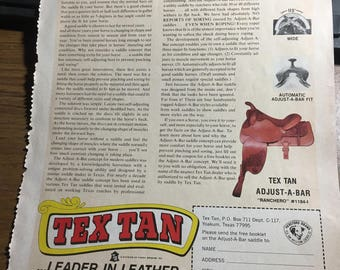 Facts about saddle fit Tex Tan Yoakum Texas july 1976 ad