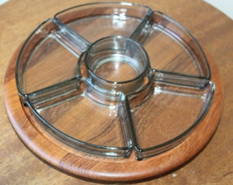 Vintage Digsmed Teak Wood Lazy Susan Tray Server, with Glass, Denmark, Mid Century Modern, Danish Modern