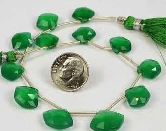 Green Onyx Beads Matched Pair Pentagon Shaped Briolettes Faceted Five-Sided Beads Earth Mined - One Pair - 11x12 to 12x13mm
