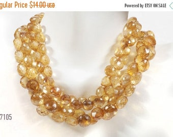 ON SALE Mystic Golden Apricot Quartz Onion Briolettes Beads Faceted Candy Kisses Mined Quartz - 10 Beads - 5x5 to 6x6mm