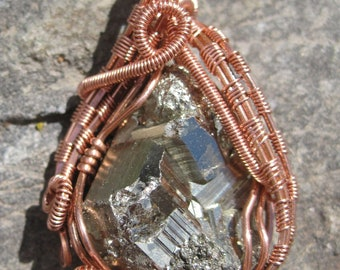 Golden Glow/ Iron Pyrite and Copper Wire Wire Wrap Pendant, Handmade, One of a Kind, Heady Wrap, Art