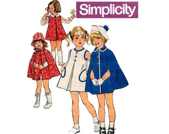 Simplicity 6826 Girls A Line Dress Jumper & Cape 70s Vintage Sewing Pattern Size 6 Chest 25 inches